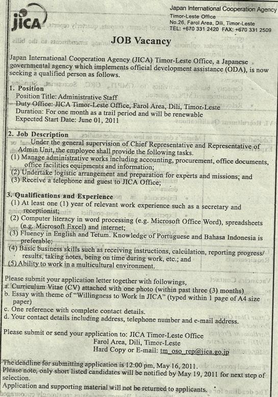 Administrative Staff JICA – Deadline 19 de Maio de 2011